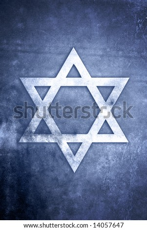 White Star of David on blue textured grunge background - stock photo