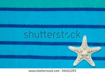 white starfish sea star on towel room for your copy - stock photo