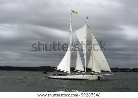 White Staysail Schooner - stock photo