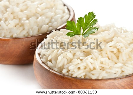 White steamed rice in wooden round bowl - stock photo