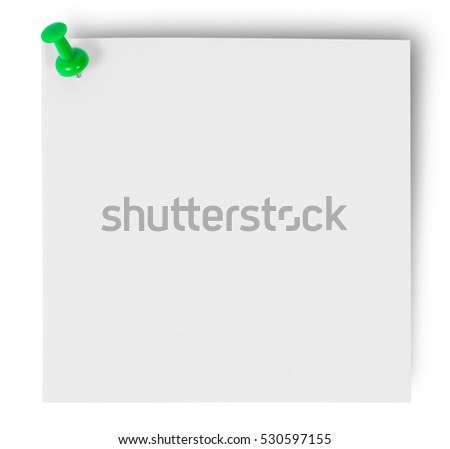 White sticker of paper pinned green office pin isolated on white background