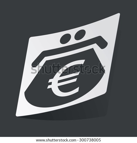 White sticker with black image of purse with euro symbol, on black background - stock photo