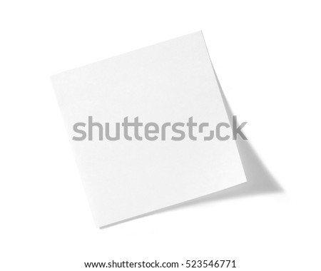 White sticky note on white background with soft shadow.