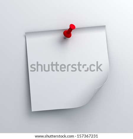 White sticky note paper with red push pin on white background with shadow