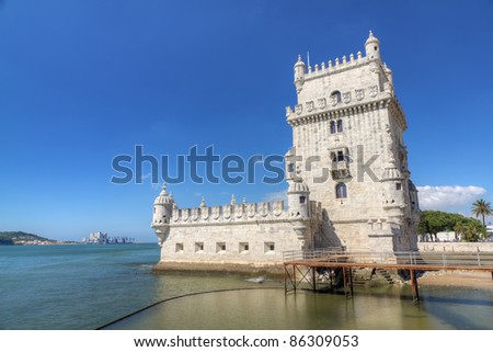 white stone ancient fortress Lisbon Belem Tower, recalls Portugal's great past as a sea-faring nation, Portugal