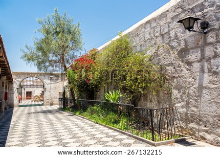 White stone courtyard in the UNESCO World Heritage center of Arequipa, Peru - stock photo
