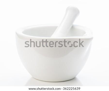 white stone mortar - stock photo