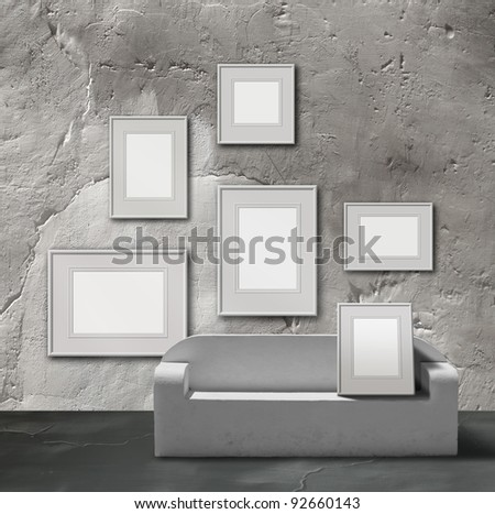 White stone picture gallery exhibition space, empty frames collection - stock photo