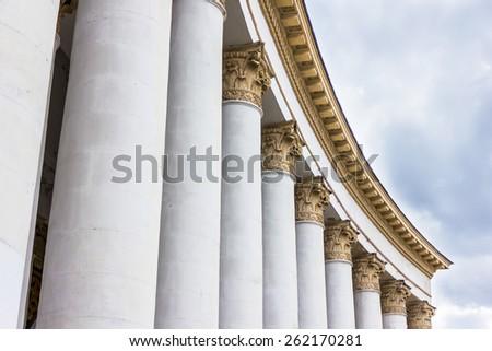 White stone pillar - stock photo