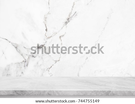 White Stone Table Top And Background Of White Marble Stone Wall   Can Used  For Display