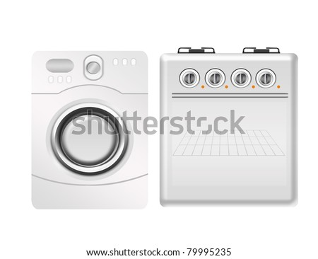 white stove and washing machine isolated over white background