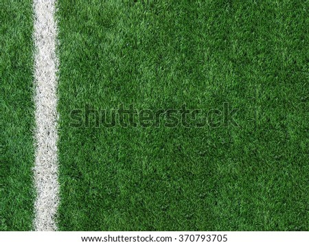 White Stripe Line at The Corner on Artificial Green Soccer Field as Copyspace to input Text from Top View used as Template - stock photo