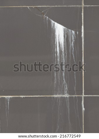 white stripes translucent lime flowing down the street dirty gray tile  - stock photo