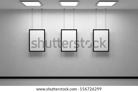 White studio and three picture - stock photo