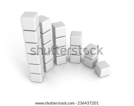 white  successful bar chart graph growing up. 3d render illustration