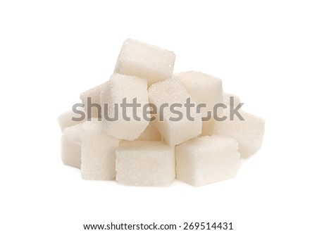 White sugar cube heap isolated on white background  - stock photo