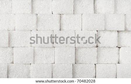 white sugar in cubes texture background - stock photo
