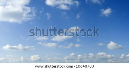 White summer clouds on blue sky scene - stock photo