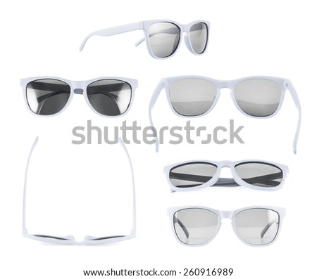 White sun glasses isolated over the white background, set of six different foreshortenings