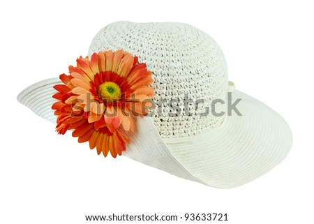 White sunhat with flowers isolated over a white background with clipping path included. - stock photo