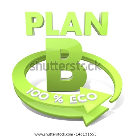 White  sustainable strategy 3d graphic with environmental plan b symbol  a 100 percent eco - stock photo