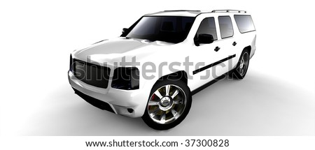 White SUV isolated - stock photo