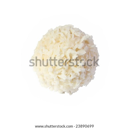 White sweet, covered the coconut shaving on a white background - stock photo