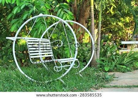 White swing chair vintage - stock photo