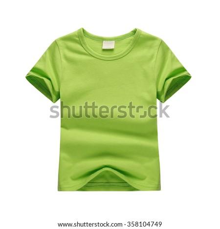 White T-shirt Child green - stock photo