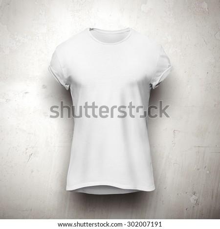 White t-shirt isolated on grey background - stock photo