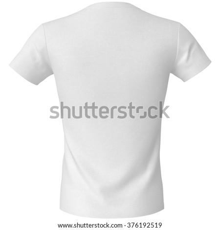white T-shirt, isolated on white background - stock photo