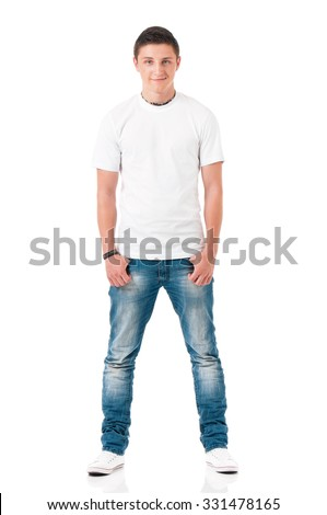 White T-shirt on a young man, isolated on white background - stock photo