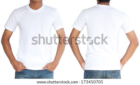 White t-shirt on a young man template isolated on white background  back and front - stock photo