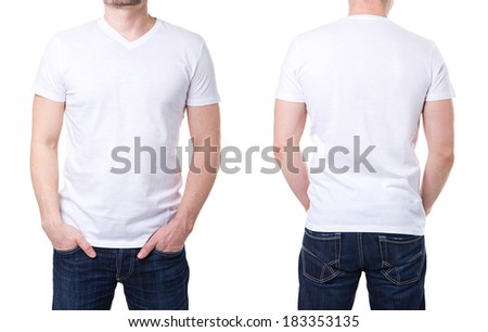 White t shirt on a young man template on white background - stock photo