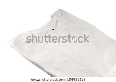 white T-shirt on white background - stock photo