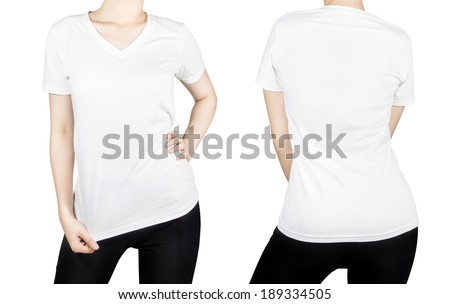 White T-shirt on woman body with front and back side isolated on white background. - stock photo