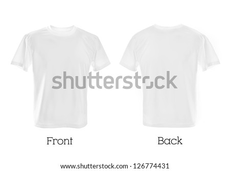 white T-shirts front and back cbe used as design template. - stock photo