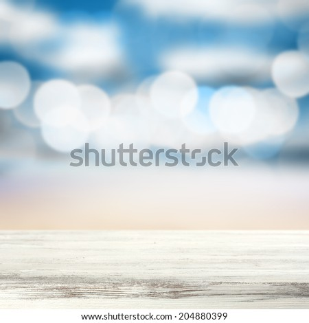 white table and beach of summer time  - stock photo