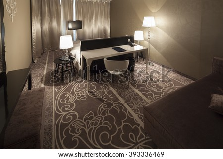 white table in beautiful bedroom apartment interior