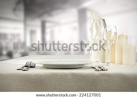 white table of food  - stock photo