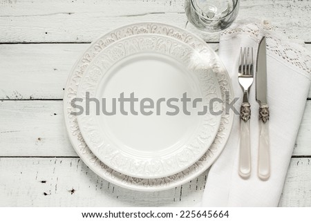 White table setting from above. Elegant empty plate cutlery napkin and glass on  sc 1 st  Shutterstock & White Table Setting Above Elegant Empty Stock Photo (Safe to Use ...