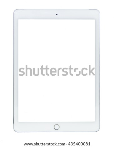 White tablet computer isolated on over Black background