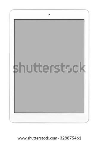 White tablet computer on white background - stock photo