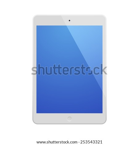 White Tablet Computer with blue display.  Illustration Similar To iPad. - stock photo