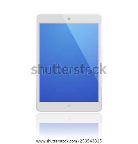 White Tablet Computer with blue screen and reflection.  Illustration Similar To iPad. - stock photo