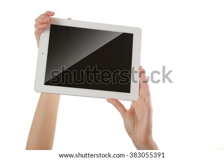 White tablet in hands isolated on white background