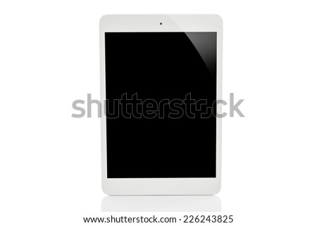 white tablet pc on white background - stock photo