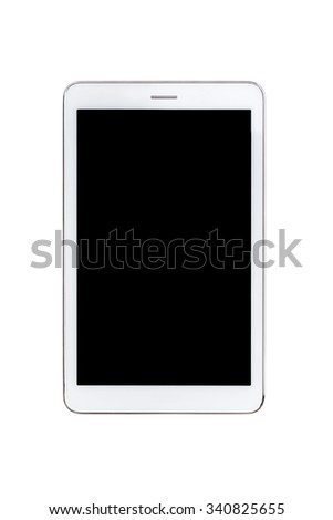 white tablet pc with blank black screen - isolated - stock photo