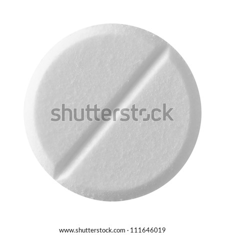 White tablet pill , isolated on white background - stock photo