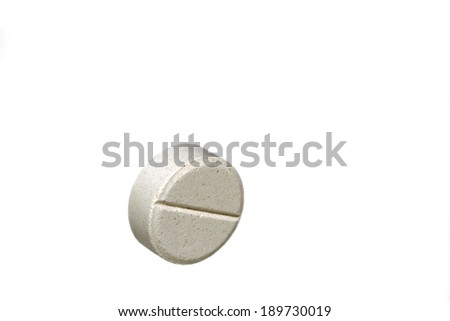 White tablet pill isolated on white background - stock photo